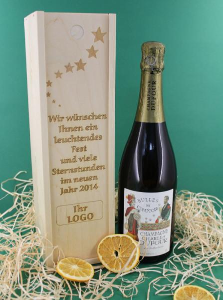 Champagner Präsent mit Firmenlogo